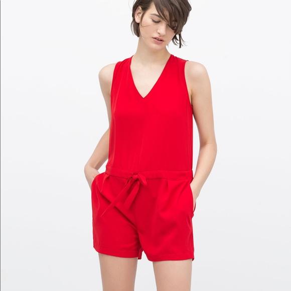 6e4cab8e26ec Zara Red Romper summer! NWOT. M 5ae2526a31a3763301c44fe0